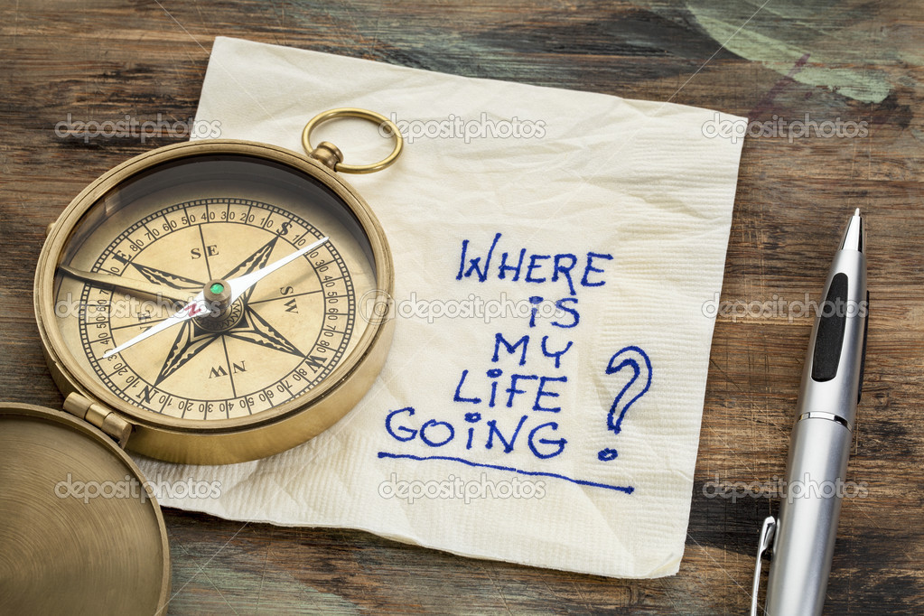 where is my life going - an essential question or searching for purpose - a napkin doodle with a brass compass