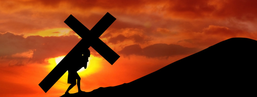 The figure of Jesus Christ carrying the cross up Calvary on Good Friday.